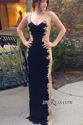 Elegant Black And Gold Sheath Prom Dresses | Straps Lace Appliques Evening Dresses_3