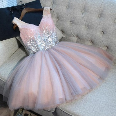 Newest Pink Sequined A-line Sleeveless Homecoming Dress | Short 2020 Party Gown BA9973_4