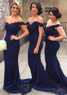 Sexy Off-the-shoulder Mermaid Lace Bridesmaid Dress 2020 Sweep Train JT144_1
