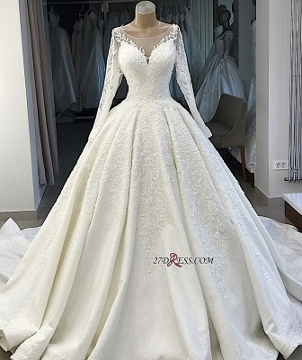 Appliques Long-Sleeves Alluring Scoop Ball-Gown Wedding Dresses_2