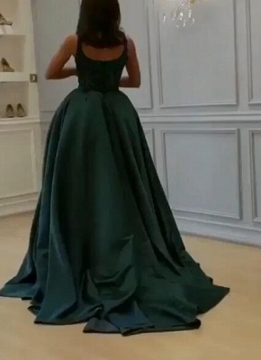 Gorgeous Sleeveless Lace Appliques Prom Dresses | 2020 Green Slit Evening Gowns BC0893_4