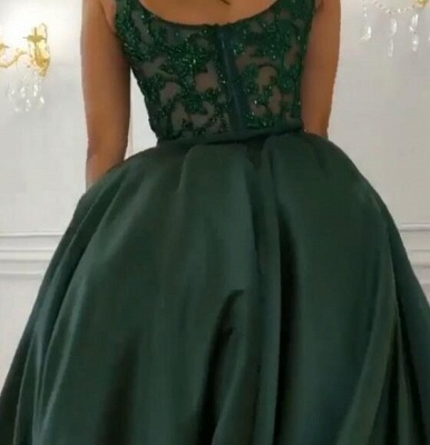 Gorgeous Sleeveless Lace Appliques Prom Dresses | 2020 Green Slit Evening Gowns BC0893_5