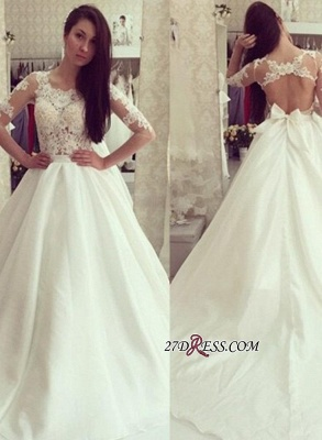 A-line Bow Sweep-train Elegant Half-sleeves Sweep-train Wedding Dress_2