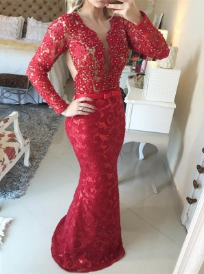 Stunning Long Sleeve Lace Evening Dress 2020 Pearls Mermaid Prom Gown BT0 BA6734_1