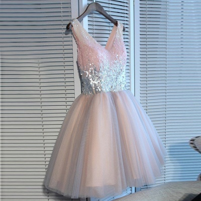 Newest Pink Sequined A-line Sleeveless Homecoming Dress | Short 2020 Party Gown BA9973_2
