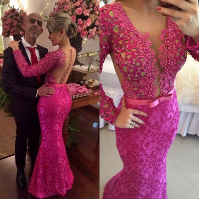 Stunning Long Sleeve Lace Evening Dress 2020 Pearls Mermaid Prom Gown BT0 BA6734_3