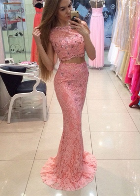 Chic Two Piece Lace 2020 Prom Dress Mermaid Crystal Long Party Dress_1