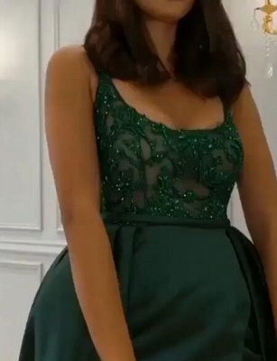 Gorgeous Sleeveless Lace Appliques Prom Dresses   2020 Green Slit Evening Gowns BC0893_3