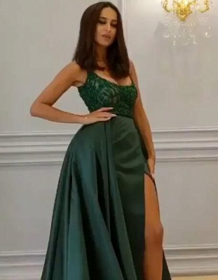 Gorgeous Sleeveless Lace Appliques Prom Dresses | 2020 Green Slit Evening Gowns BC0893_1