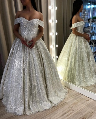 Glamorous Off-the-Shoulder Sequins Prom Dress | Long 2020 Evening Gowns On Sale_2