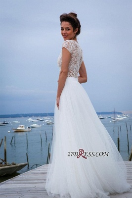 Tulle Simple Short-Sleeves A-line V-neck Chic Wedding Dress_3