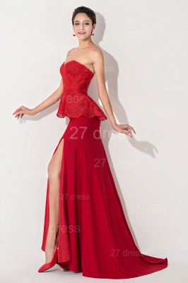 Sexy Red Sweetheart Sleeveless Evening Dress Front Split_3