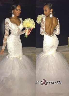 Gorgeous Lace Backless Bridal Gowns | Long-Sleeve Mermaid Wedding Dress On Sale_2