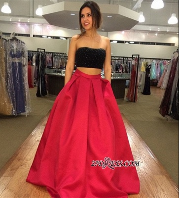 Two-Piece Strapless Sleeveless A-line Modest Prom Dress_2