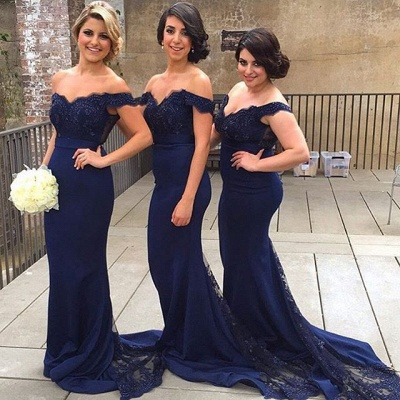 Sexy Off-the-shoulder Mermaid Lace Bridesmaid Dress 2020 Sweep Train JT144_4