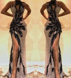 Gorgeous Sleeveless Lace Appliques Prom Dresses | 2020 Green Slit Evening Gowns BC0893_13