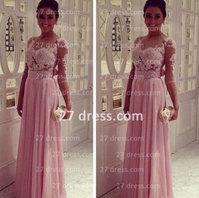 Lace Pink Empire Slim Evening Dresses Tulle Back Transparent Floor Length Prom Dresses With Knotbot & 1/3 Long Sleeve_1