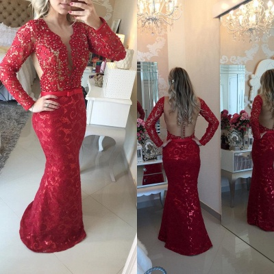 Stunning Long Sleeve Lace Evening Dress 2020 Pearls Mermaid Prom Gown BT0 BA6734_7