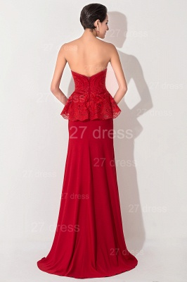 Sexy Red Sweetheart Sleeveless Evening Dress Front Split_4