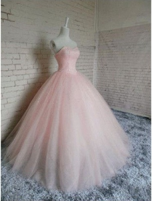 Sleeveless Sweetheart Prom Ball Gown Pink Tulle Dresses Chic Princess Dresses_3