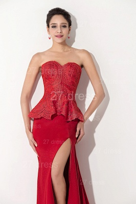 Sexy Red Sweetheart Sleeveless Evening Dress Front Split_2
