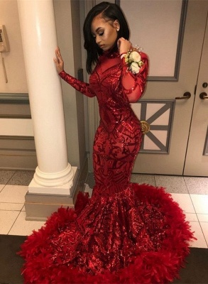 Sexy Red Sequins Long Sleeve Prom Dress | 2020 Mermaid Evening Gowns With Feather bk0_3