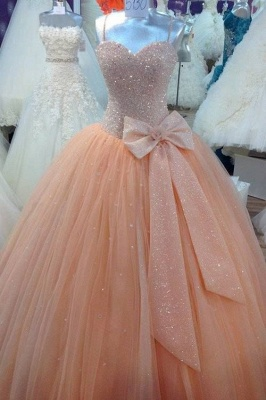 Stunning Sequins Sweetheart Ball Gown Wedding Dress with Bowknot_1