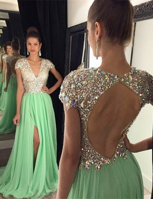 Stunning Cap Sleeve Crystal 2020 Prom Dresses 2020 Open Back Long Chiffon Prom Gown_1