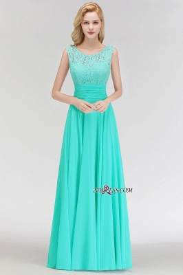 Chiffon Sleeveless Gorgeous Lace Floor-Length Scoop Long Bridesmaid Dress_5