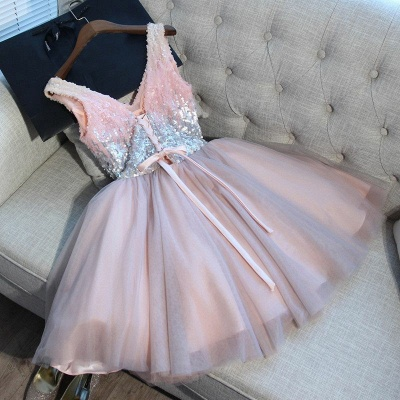 Newest Pink Sequined A-line Sleeveless Homecoming Dress | Short 2020 Party Gown BA9973_3