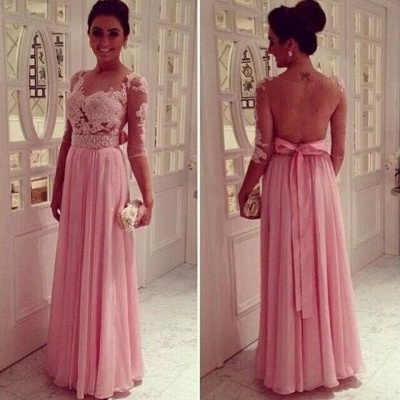 Lace Pink Empire Slim Evening Dresses Tulle Back Transparent Floor Length Prom Dresses With Knotbot & 1/3 Long Sleeve_3