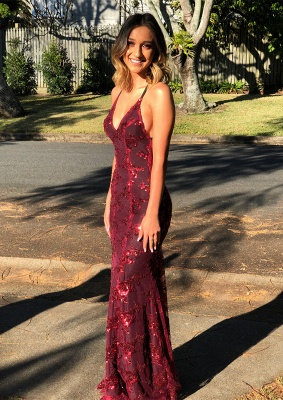 Newest Burgundy Lace Spaghetti Strap Formal Dress | 2020 Long Prom Dress_1