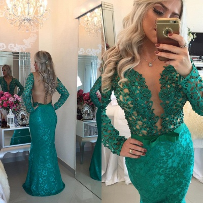 Stunning Long Sleeve Lace Evening Dress 2020 Pearls Mermaid Prom Gown BT0 BA6734_5