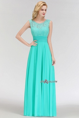 Chiffon Sleeveless Gorgeous Lace Floor-Length Scoop Long Bridesmaid Dress_4