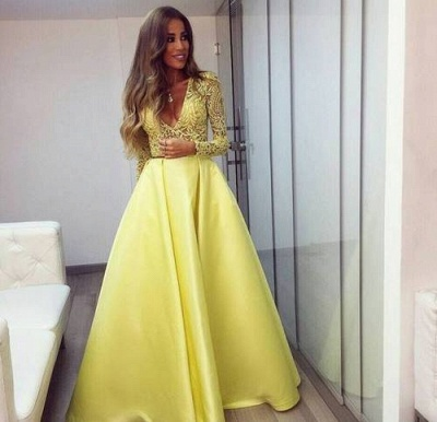 Stunning Yellow Long Sleeve 2020 Prom Dress V-Neck Lace BA3130_4