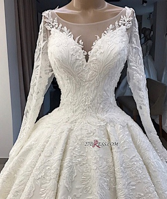 Appliques Long-Sleeves Alluring Scoop Ball-Gown Wedding Dresses_3