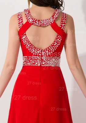 Sexy Red Front Split Evening Dress Crystals Sweep Train_4