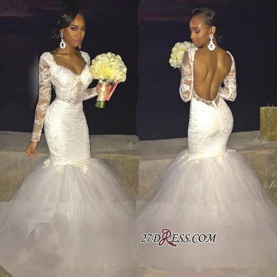 Gorgeous Lace Backless Bridal Gowns | Long-Sleeve Mermaid Wedding Dress On Sale_1