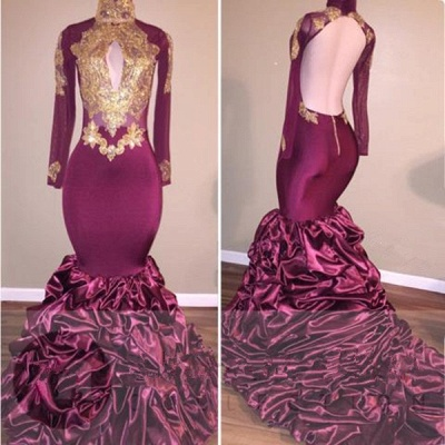 Burgundy Mermaid Prom Dress | 2020 Gold Appliques Party Dress BC1682_3