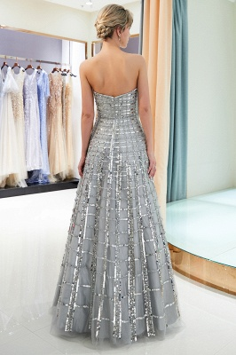 Gorgeous Strapless Sequins Evening Dress | Grey Long Prom Gowns On Sale_3