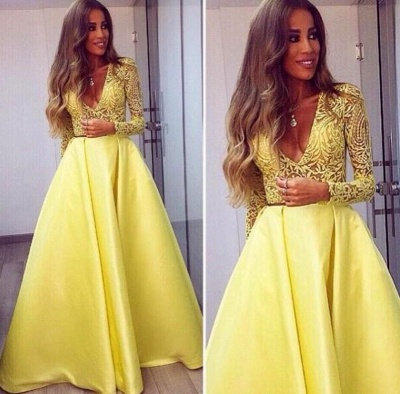 Stunning Yellow Long Sleeve 2020 Prom Dress V-Neck Lace BA3130_3