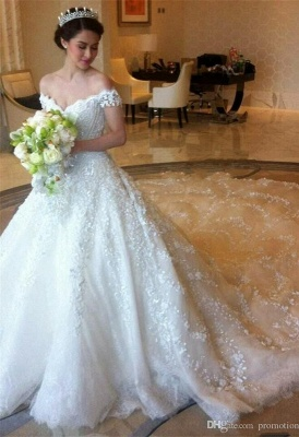 Elegant Off-shoulder Tulle Wedding Dress Ball Gown With Lace Appliques_5