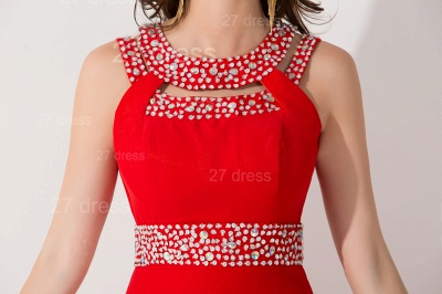 Sexy Red Front Split Evening Dress Crystals Sweep Train_5