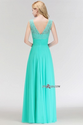 Chiffon Sleeveless Gorgeous Lace Floor-Length Scoop Long Bridesmaid Dress_3