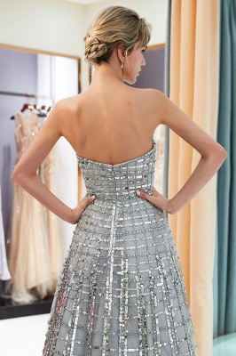 Gorgeous Strapless Sequins Evening Dress | Grey Long Prom Gowns On Sale_4