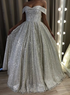Glamorous Off-the-Shoulder Sequins Prom Dress | Long 2020 Evening Gowns On Sale_3