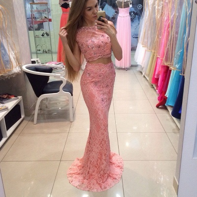 Chic Two Piece Lace 2020 Prom Dress Mermaid Crystal Long Party Dress_3