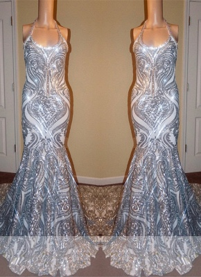 Gorgeous Halter Scoop Prom Dresses   2020 Mermaid Long Sequins Evening Gowns_1