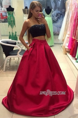Two-Piece Strapless Sleeveless A-line Modest Prom Dress_3