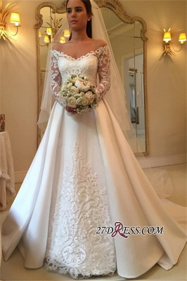A-Line Off-the-Shoulder Detachable-Train Long-Sleeves Newest Wedding Dresses_3